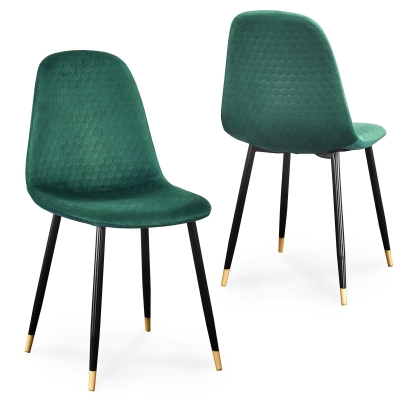 Lot de 2 chaises scandinaves design en velours vert WANDA