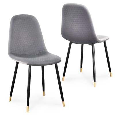 Lot de 2 chaises scandinaves design en velours gris WANDA