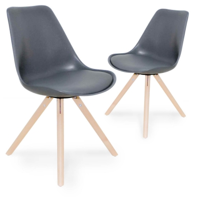 Lot de 2 chaises design gris VELTA