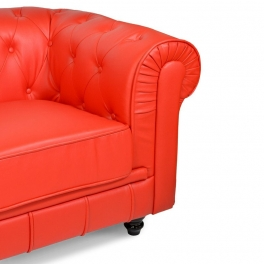 Canapé 3 places rouge CHESTERFIELD