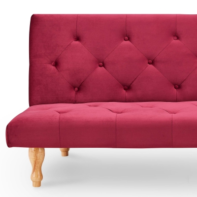 Banquette clic-clac convertible en velours rouge 3 places JASON
