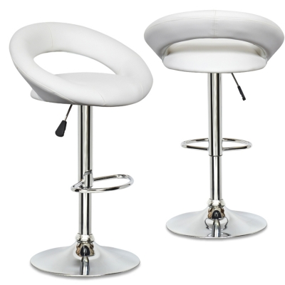 Lot de 2 tabourets de bar blanc JETI