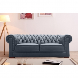 Canapé capitonné 3 places en cuir gris CHESTERFIELD