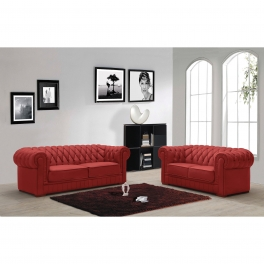 Ensemble capitonné en cuir rouge Chesterfield 3+2 places