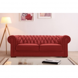 Canapé capitonné 3 places en cuir rouge CHESTERFIELD