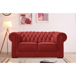 Canapé capitonné 2 places en cuir rouge CHESTERFIELD
