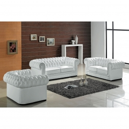 Ensemble capitonné en cuir blanc Chesterfield 3+2+1 places