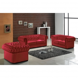 Ensemble capitonné en cuir rouge Chesterfield 3+2+1 places