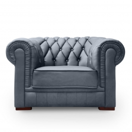 Ensemble capitonné en cuir gris Chesterfield 3+2+1 places
