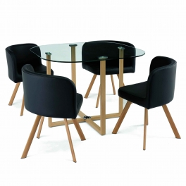 Ensemble table + 4 chaises encastrable noir FLEN