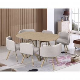 Ensemble table + 6 chaises encastrables beige FLEN XL