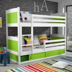 deco in paris lits superposes blanc et vert 200 x 90 cm kiko kiko blanc vert. Black Bedroom Furniture Sets. Home Design Ideas