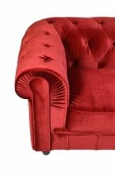 Canapé 3 places velours Rouge CHESTERFIELD