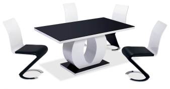 Deco in paris table et chaises - Chaise noir et blanc design ...